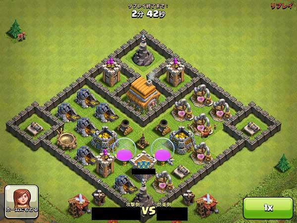壁の中に敵ユニットが侵入できる隙間があるレイアウト