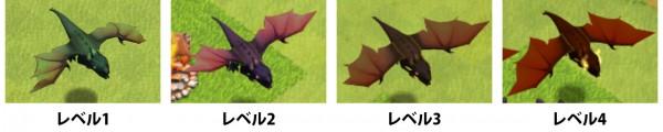ドラゴンのレベルによる見た目の変化