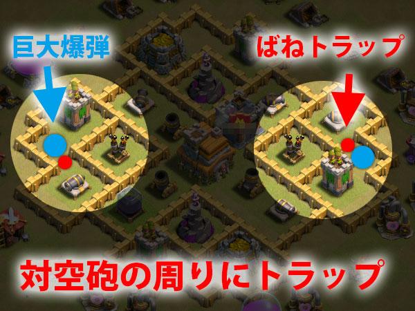 対空砲前の小道にトラップを仕掛けて攻撃側のユニットを倒す